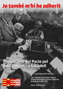 Cartell de l'acte de presentació del Pacte local pel dret a decidir