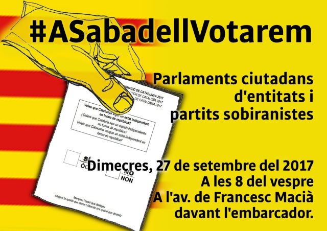 Sabadell. Dimecres 27, acte unitari #ASabadellVotarem