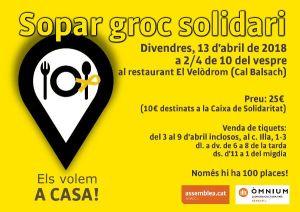 Sabadell, crònica i recull fotogràfic. 13 d'abril: Primer Sopar GROC Solidari