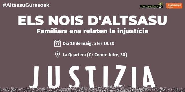 Sabadell. 15 de maig, xerrada amb familiars dels nois d'Altsasu