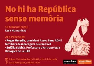 """27 de setembre, a Sabadell, """"No hi ha República sense memòria"""""""