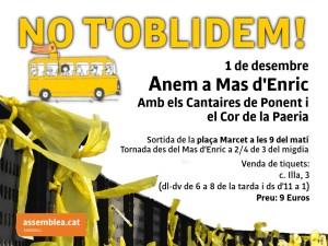 L'1 de desembre s'organitza un autocar de Sabadell a Mas d'Enric per estar amb la Carme Forcadell